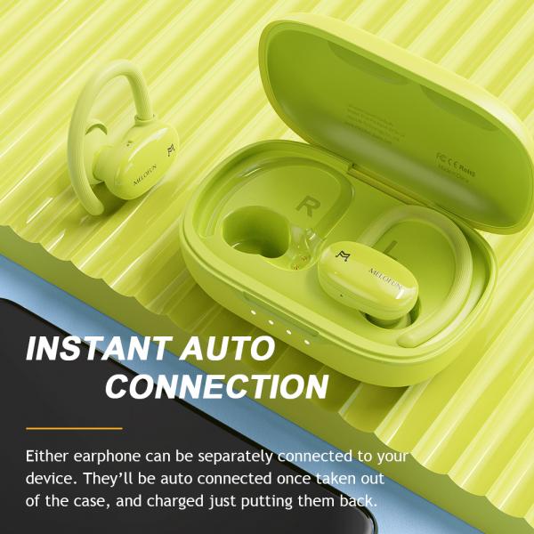 Casti bluetooth 5.0 Hi-Fi TWS Melofun Elite Pro fara fir (wireless), control audio, handsfree, rezistente la apa IPX4 green [0]