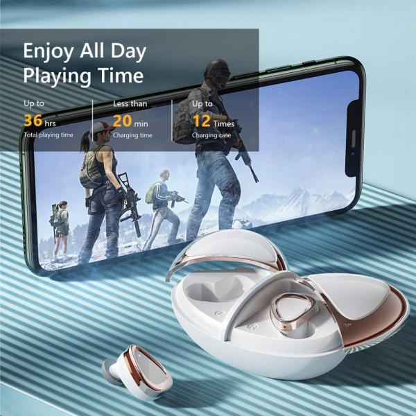 Casti bluetooth 5.0 Hi-Fi TWS Melofun M2 fara fir (wireless), control audio, handsfree, rezistente la apa IPX7, white [2]