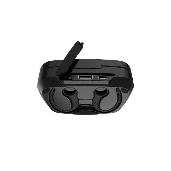 Casti bluetooth Premium TWS 702 fara fir (wireless), control audio, handsfree, rezistente la apa IPX5, metalic black [3]