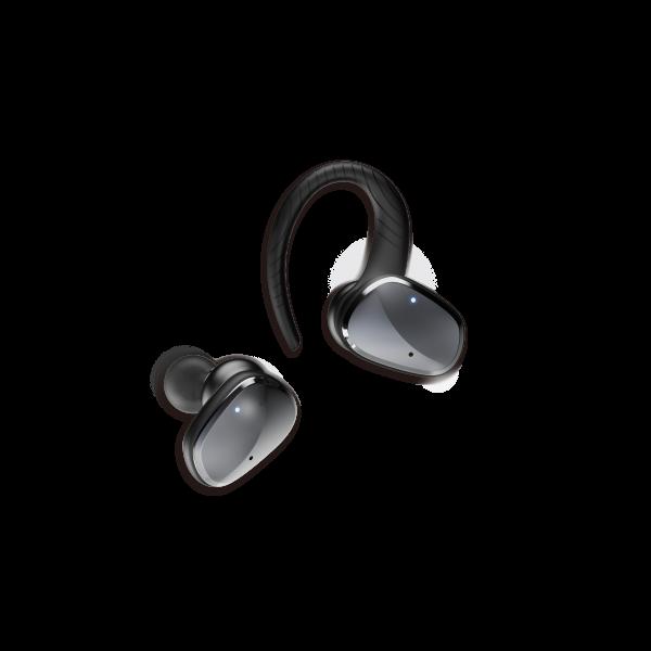 Casti bluetooth Premium TWS 702 fara fir (wireless), control audio, handsfree, rezistente la apa IPX5, metalic black [1]
