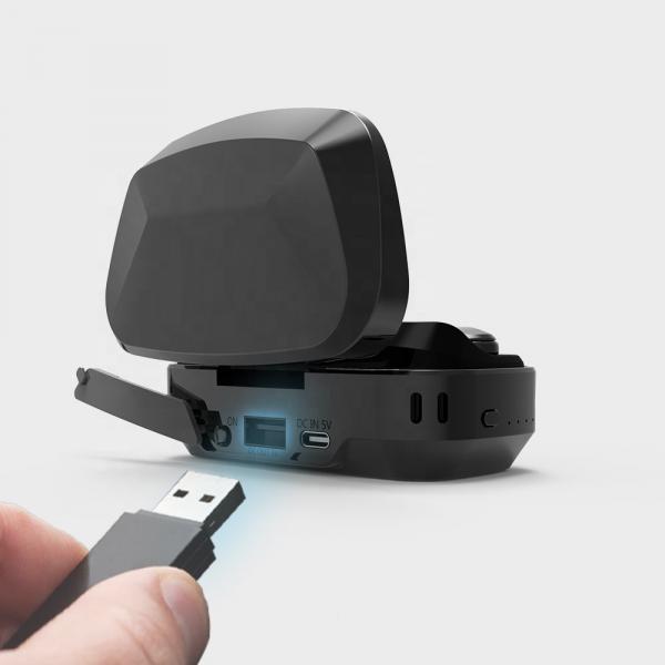 Casti bluetooth Premium TWS 702 fara fir (wireless), control audio, handsfree, rezistente la apa IPX5, black [2]