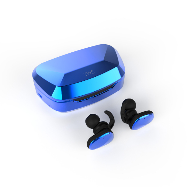Casti bluetooth Premium TWS 702 fara fir (wireless), control audio, handsfree, rezistente la apa IPX5, metalic blue [0]