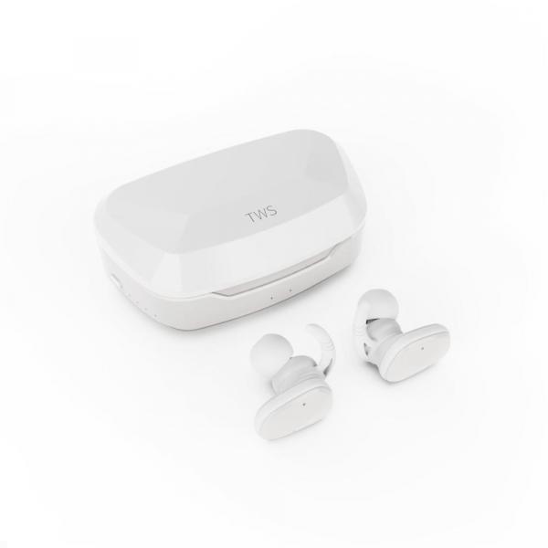 Casti bluetooth Premium TWS 702 fara fir (wireless), control audio, handsfree, rezistente la apa IPX5, white [0]