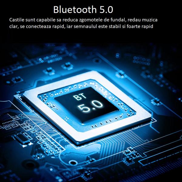 Casti bluetooth TWS Optimus AT V6 fara fir (wireless), control audio, handsfree, rezistente la apa IPX4, black [2]