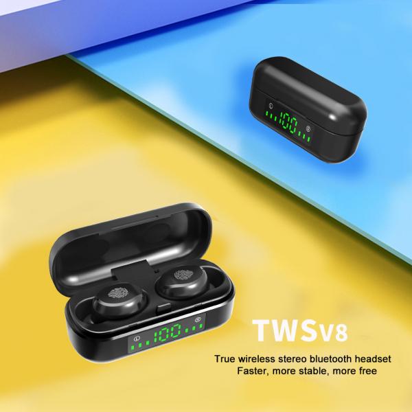 Casti bluetooth TWS Optimus AT V8 fara fir (wireless), senzori tactili, control audio, handsfree, rezistente la apa IPX4, black [2]