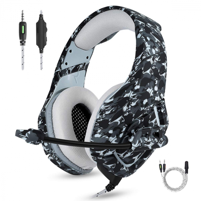 Casti Gaming Onikuma K1, Surround Sound 7.1, Microfon Noise Cancelling, Zero Ear Pressure, Multi Platform, Gri [0]