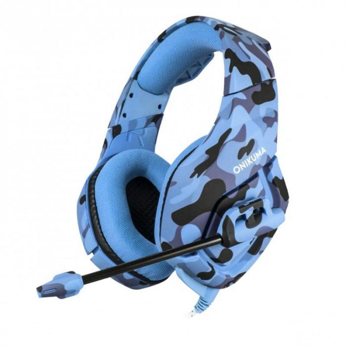 Casti Gaming DC-Onikuma K1, Surround Sound 7.1, Microfon Noise Cancelling, Zero Ear Pressure, Multi Platform -Camouflage  Albastru [0]