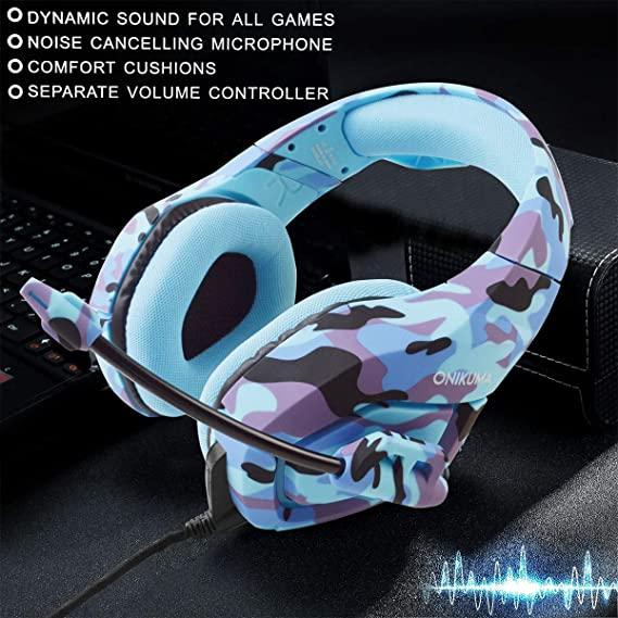 Casti Gaming DC-Onikuma K1, Surround Sound 7.1, Microfon Noise Cancelling, Zero Ear Pressure, Multi Platform -Camouflage  Albastru [3]