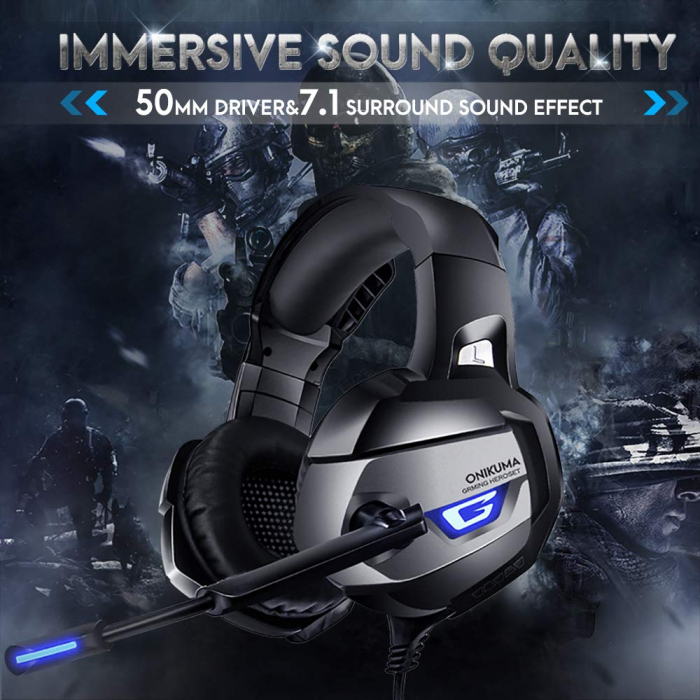 Casti Gaming DC-Onikuma K5 Profesionale, Surround Sound 7.1, Microfon Noise Cancelling, Zero Ear Pressure, Multi Platform Albastru [3]