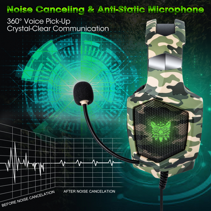 Casti Gaming DC-Onikuma K8 , Surround Sound 7.1, Microfon Noise Cancelling, Bass Vibration, Zero Ear Pressure, Multi Platform, Camouflage Verde [3]