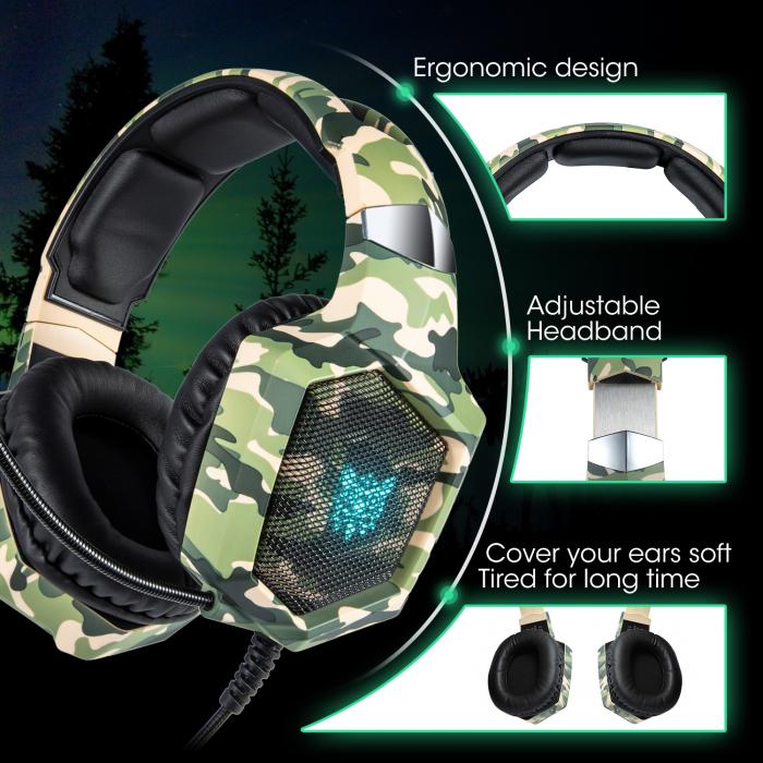 Casti Gaming DC-Onikuma K8 , Surround Sound 7.1, Microfon Noise Cancelling, Bass Vibration, Zero Ear Pressure, Multi Platform, Camouflage Verde [5]