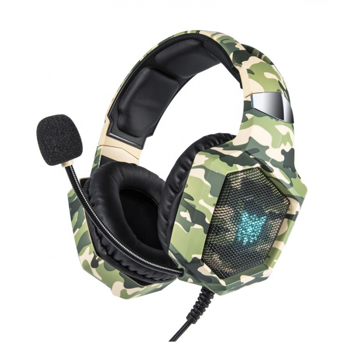 Casti Gaming DC-Onikuma K8 , Surround Sound 7.1, Microfon Noise Cancelling, Bass Vibration, Zero Ear Pressure, Multi Platform, Camouflage Verde [0]