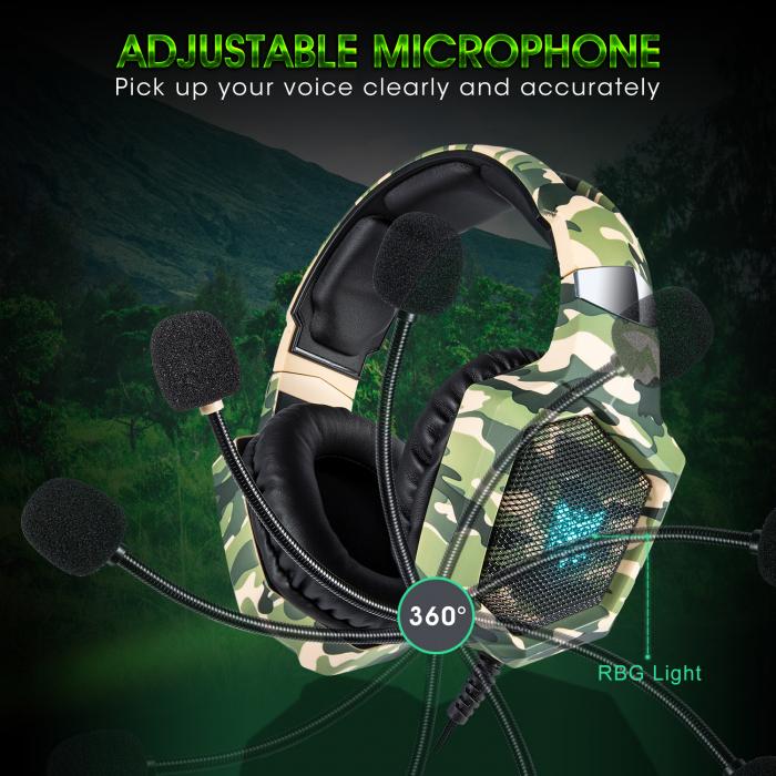 Casti Gaming DC-Onikuma K8 , Surround Sound 7.1, Microfon Noise Cancelling, Bass Vibration, Zero Ear Pressure, Multi Platform, Camouflage Verde [2]