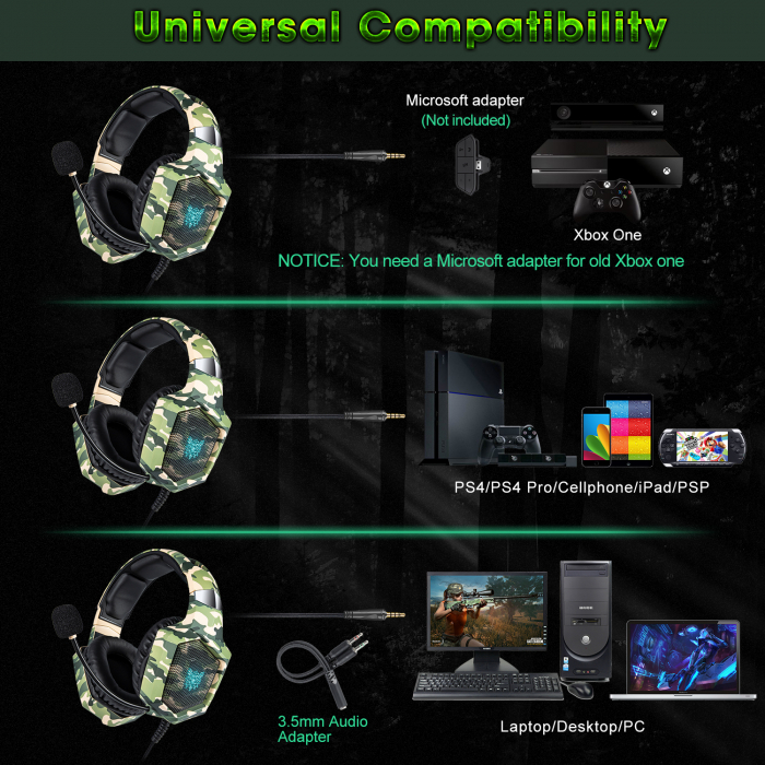 Casti Gaming DC-Onikuma K8 , Surround Sound 7.1, Microfon Noise Cancelling, Bass Vibration, Zero Ear Pressure, Multi Platform, Camouflage Verde [1]