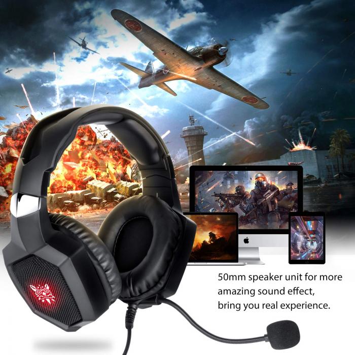 Casti Gaming DC-Onikuma K8 , Surround Sound 7.1, Microfon Noise Cancelling, Bass Vibration, Zero Ear Pressure, Multi Platform, Negru [5]