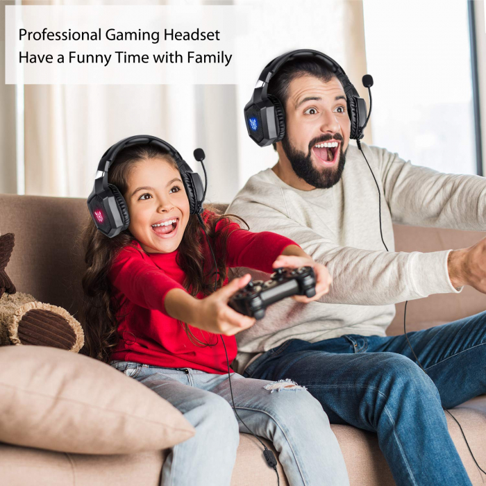 Casti Gaming DC-Onikuma K8 , Surround Sound 7.1, Microfon Noise Cancelling, Bass Vibration, Zero Ear Pressure, Multi Platform, Negru [1]