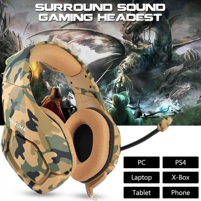 Casti Gaming Onikuma K1 PRO, Microfon Noise Cancelling, Zero Ear Pressure, Multi Platform - Camuflaj galben [2]