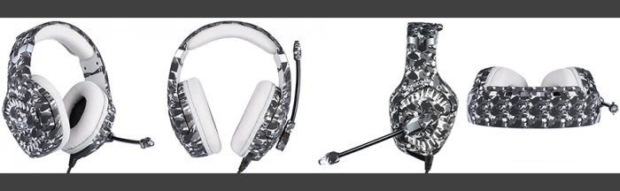 Casti Gaming Onikuma K1 PRO, Microfon Noise Cancelling, Zero Ear Pressure, Multi Platform - Camuflaj gri [4]