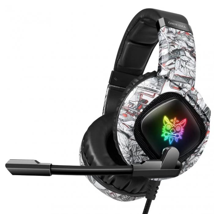 Casti Gaming Onikuma K19 Profesionale, Iluminare RGB, Surround Sound 7.1, Microfon Noise Cancelling, Zero Ear Pressure - Camouflage Gri [0]