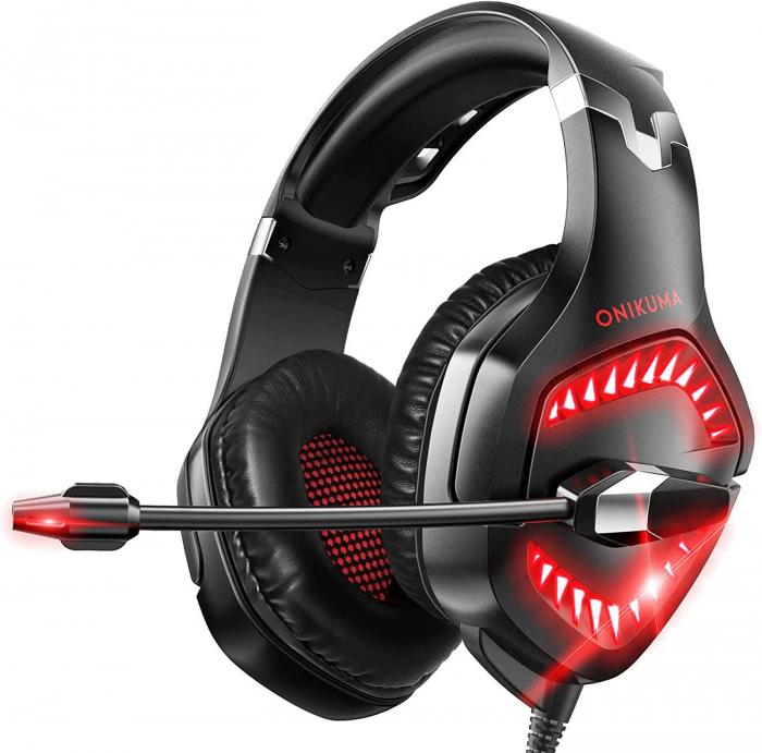 Casti Gaming Onikuma K1 PRO, Microfon Noise Cancelling, Zero Ear Pressure, Multi Platform - Rosu [0]