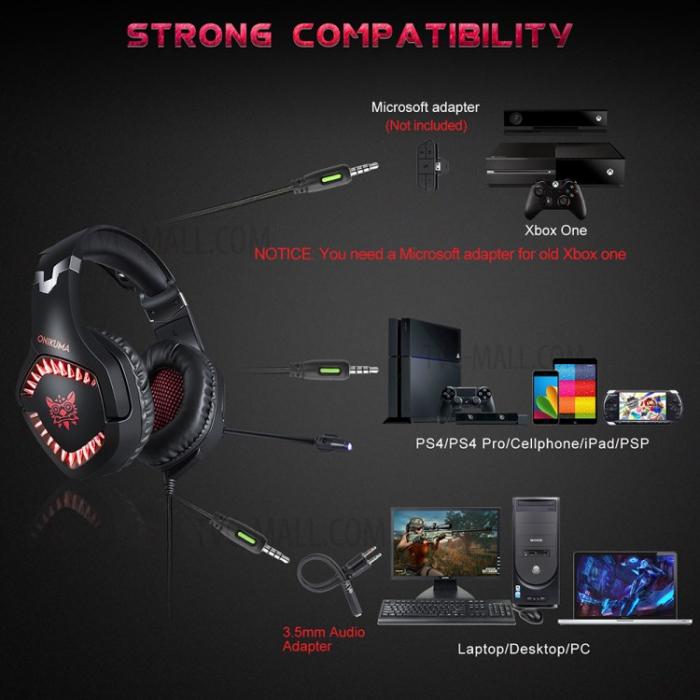 Casti Gaming Onikuma K1 PRO, Microfon Noise Cancelling, Zero Ear Pressure, Multi Platform - Rosu [1]