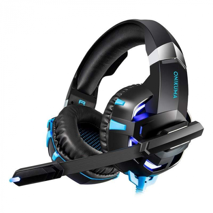 Casti Gaming Onikuma K2 PRO, Microfon Noise Cancelling, Zero Ear Pressure, Multi Platform -Negru/ Albastru [2]