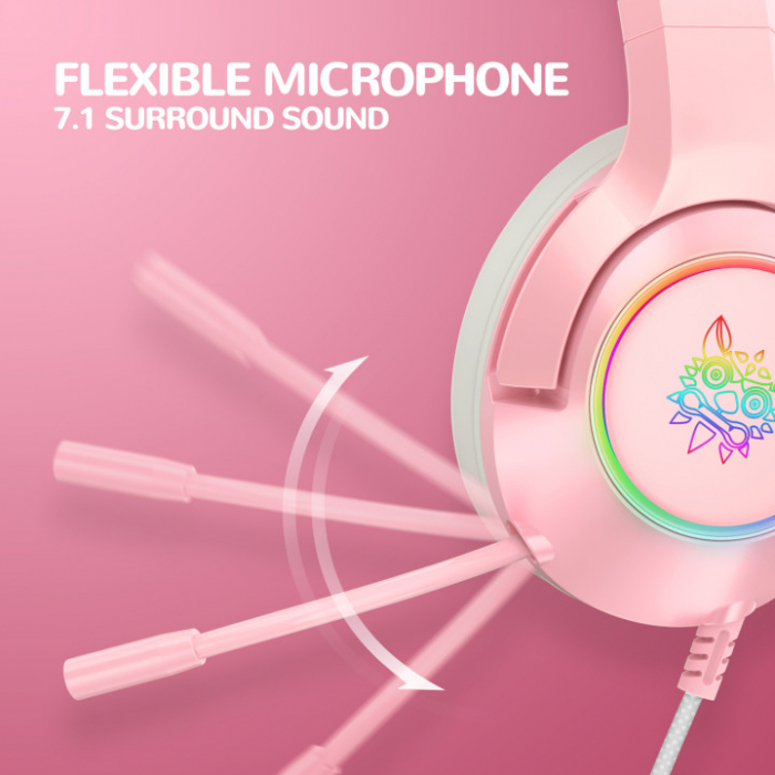 Casti gaming Onikuma K9 Proffesional, RGB Pink cat ears- removable [4]