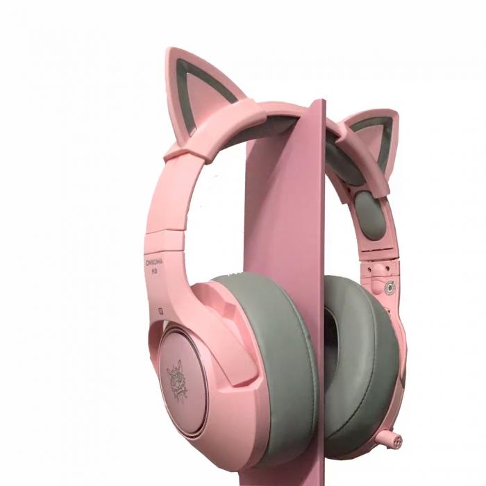 Casti gaming Onikuma K9 Proffesional, RGB Pink cat ears- removable [5]