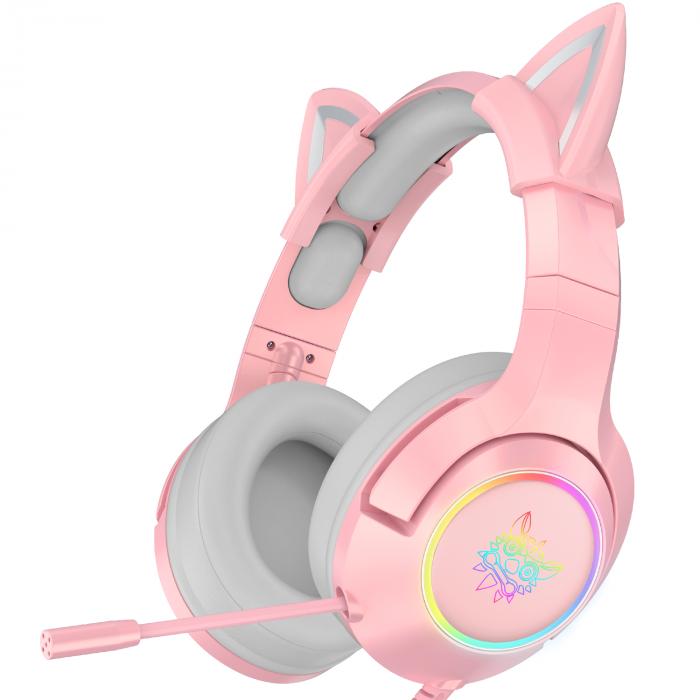 Casti gaming Onikuma K9 Proffesional, RGB Pink cat ears- removable [0]