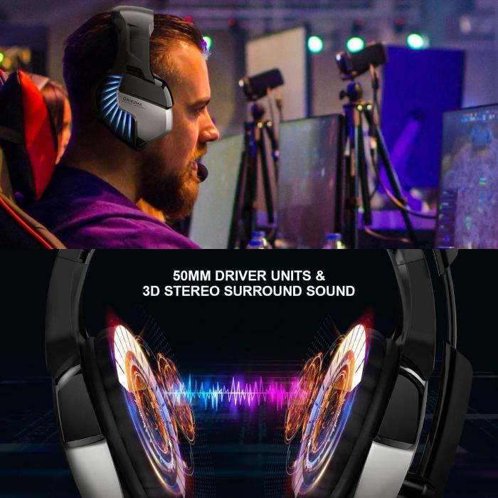 Casti gaming stereo Onikuma K5Pro Albastru [1]