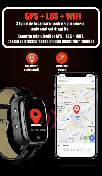 Ceas inteligent pentru adulti 4G cu localizare prin GPS, apelare audio, video, termometru, puls, tensiune, camera, buton SOS, H10 negru [7]