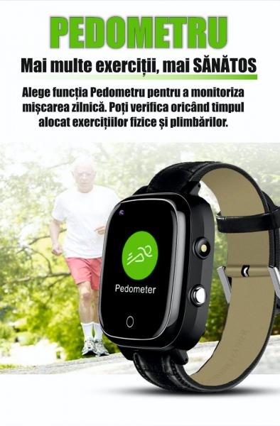 Ceas inteligent pentru adulti 4G cu localizare prin GPS, apelare audio, video, termometru, puls, tensiune, camera, buton SOS, H10 negru [9]