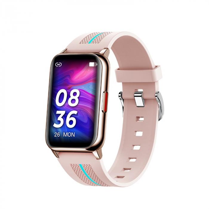 Ceas inteligent (smartwatch) H76, IP68, ecran curbat de 1.57 inch, moduri sport, pedometru, puls, notificari, roz [0]