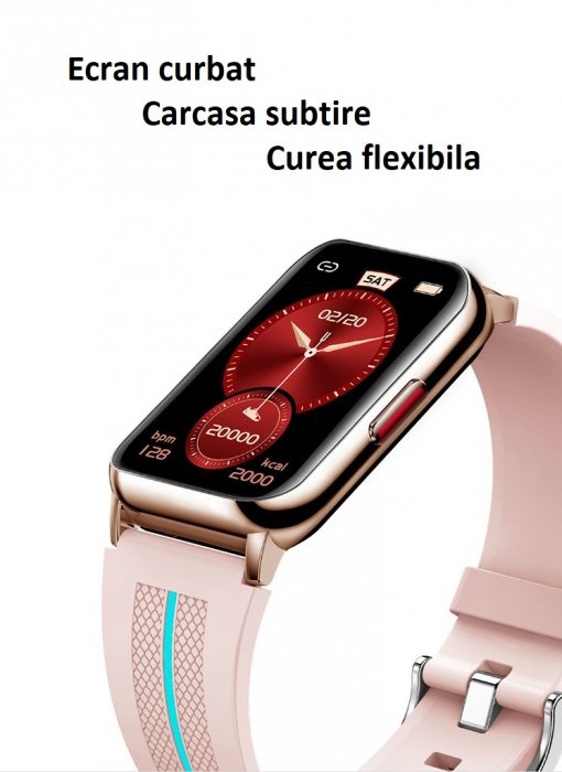 Ceas inteligent (smartwatch) H76, IP68, ecran curbat de 1.57 inch, moduri sport, pedometru, puls, notificari, roz [2]
