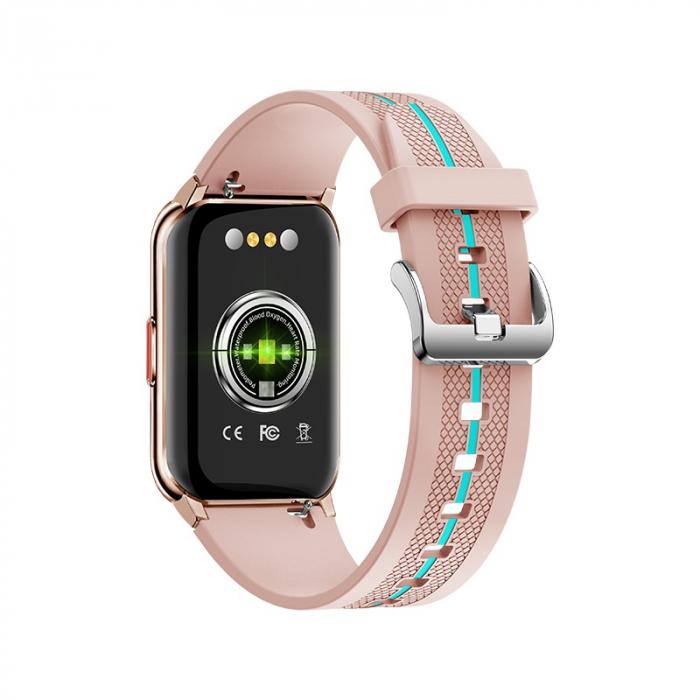 Ceas inteligent (smartwatch) H76, IP68, ecran curbat de 1.57 inch, moduri sport, pedometru, puls, notificari, roz [1]