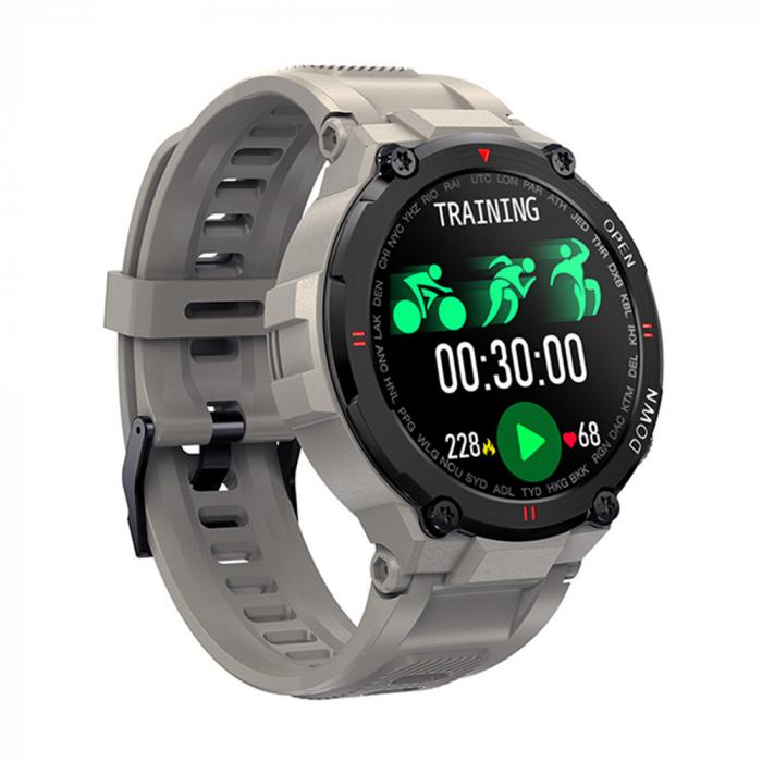 Ceas inteligent (smartwatch) K27 ecran cu touch color HD, autonomie marita, moduri sport, pedometru, puls, notificari, gri [0]