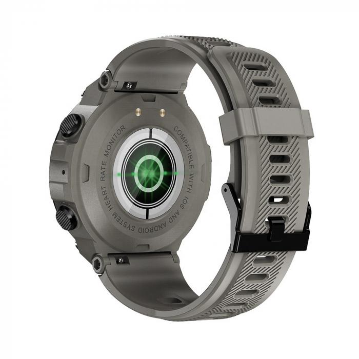 Ceas inteligent (smartwatch) K27 ecran cu touch color HD, autonomie marita, moduri sport, pedometru, puls, notificari, gri [1]