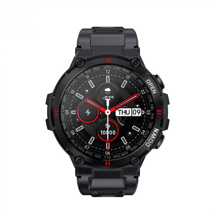 Ceas inteligent (smartwatch) K27 ecran cu touch color HD, autonomie marita, moduri sport, pedometru, puls, notificari, negru [1]