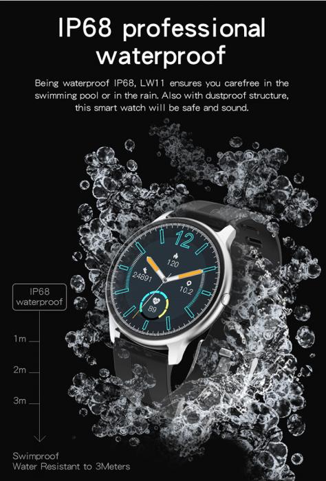 Ceas inteligent (smartwatch) LW-11 ultra subtire, IP68, ecran cu touch 1.28 inch color, moduri sport, pedometru, puls, notificari, albastru [2]