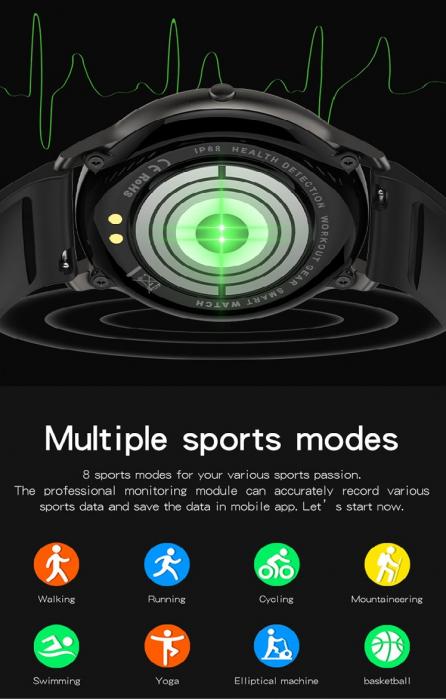 Ceas inteligent (smartwatch) LW-11 ultra subtire, IP68, ecran cu touch 1.28 inch color, moduri sport, pedometru, puls, notificari, albastru [3]