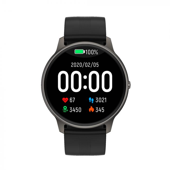 Ceas inteligent (smartwatch) LW-11 ultra subtire, IP68, ecran cu touch 1.28 inch color, moduri sport, pedometru, puls, notificari, negru [1]