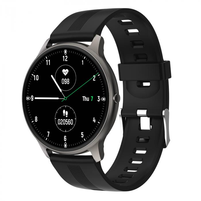 Ceas inteligent (smartwatch) LW-11 ultra subtire, IP68, ecran cu touch 1.28 inch color, moduri sport, pedometru, puls, notificari, negru [0]