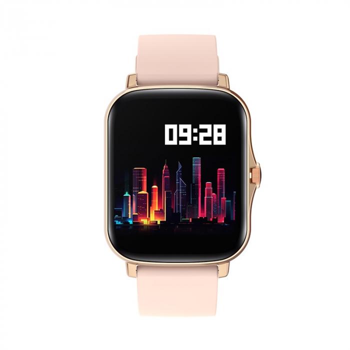 Ceas inteligent (smartwatch) Y20, IP67, ecran cu touch 1.7 inch color, moduri sport, pedometru, puls, notificari, auriu [1]