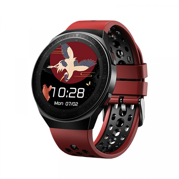 Ceas inteligent (smartwatch) MT-3 cu difuzor si microfon incorporat, ecran cu touch 1.28 inch color, moduri sport, pedometru, puls, notificari, red [1]