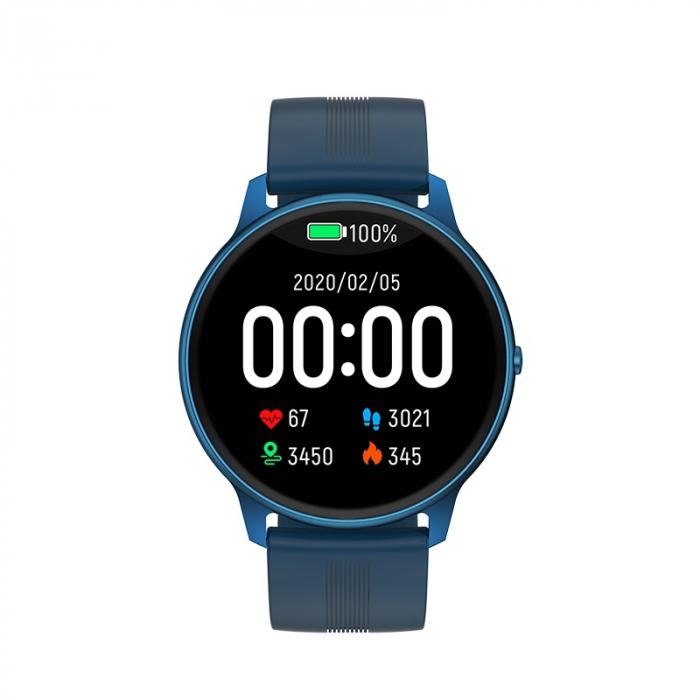 Ceas inteligent (smartwatch) LW-11 ultra subtire, IP68, ecran cu touch 1.28 inch color, moduri sport, pedometru, puls, notificari, albastru [1]