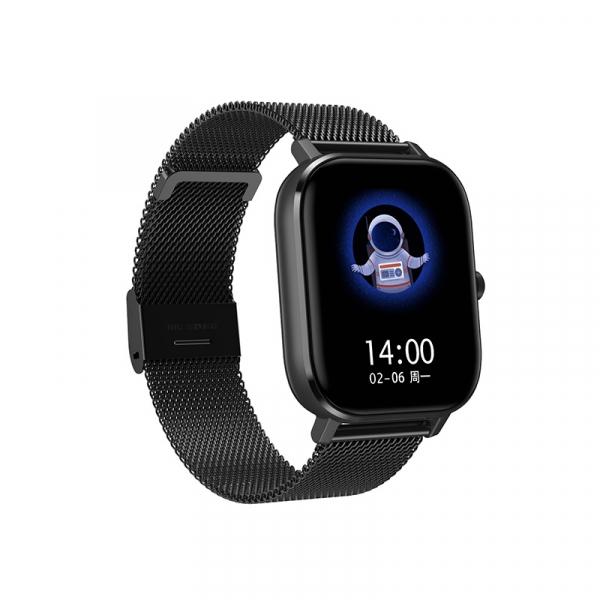 Ceas inteligent (smartwatch) Optimus AT DT-35 cu difuzor si microfon incorporat, curea metalica, ecran cu touch 1.54 inch color HD, moduri sport, pedometru, puls, notificari, metal black [0]