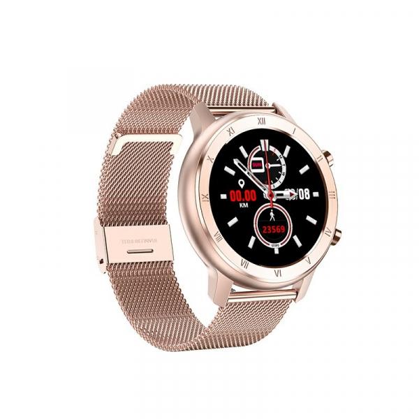 Ceas inteligent (smartwatch) Optimus AT DT-89 ecran cu touch 1.2 inch color HD, moduri sport, pedometru, puls, notificari, metal pink [0]