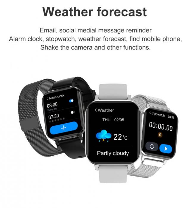 Ceas inteligent (smartwatch) Optimus AT DTX ecran cu touch 1.78 inch color HD, ECG, Sp02, puls, moduri sport, notificari, curea metalica black [4]