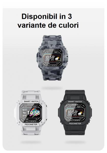 Ceas inteligent (smartwatch) cu design retro Optimus AT I2 ecran 0.96 inch color puls, moduri sport, notificari, army [2]
