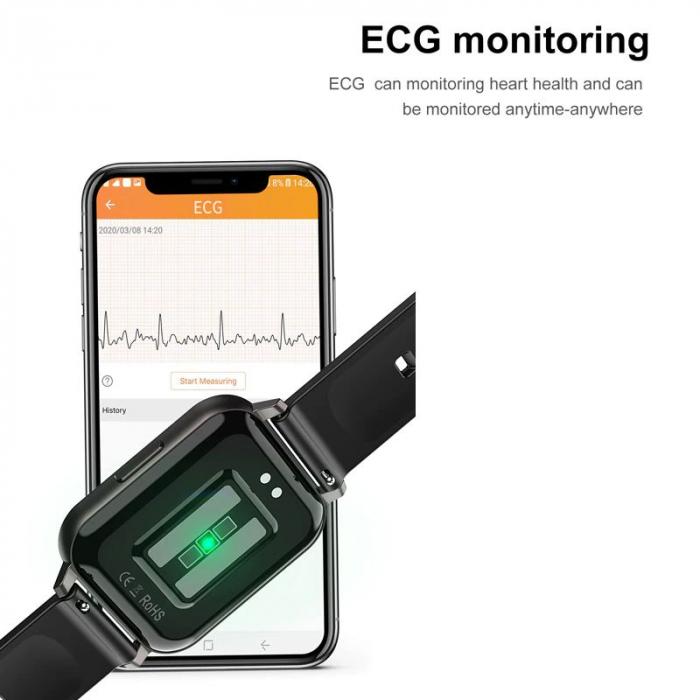Ceas inteligent (smartwatch) Optimus AT DTX ecran cu touch 1.78 inch color HD, ECG, Sp02, puls, moduri sport, notificari, silicon black [7]